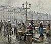 PAUL GUSTAVE FISCHER, Danish (1860-1934), Copenhagen Fish Market, oil on canvas, signed lower right., 20 x 22 1/2, Paul Fischer, $5,500