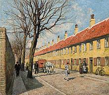 PAUL GUSTAVE FISCHER, Danish (1860-1934), A Copenhagen Street, oil on canvas, signed lower right., 20 x 22 1/2