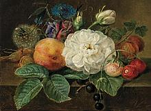 JOHAN LAURENTZ JENSEN (attributed), Danish (1800-1856), Pair of Floral Still Lifes, oil on canvas, A-signed center right and dated i...