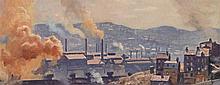 EVERETT LONGLEY WARNER, American (1877-1963), Industrial Scene, Pittsburgh , oil on masonite, signed lower right., 11 3/4 x 29 3/4