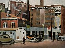 WILLIAM HENNING, American (1911-1996), Third Street, oil on canvas, signed lower left and dated '33., 22 1/4 x 30