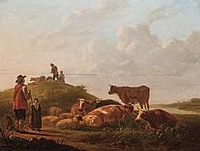 DUTCH SCHOOL, Possibly 17th/18th Century, Tending the Flock, oil on panel., 24 3/4 x 32 3/8