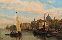 (F?) HULK, European (19th Century), A Northern European City, oil on canvas, signed lower left., 15 7/8 x 23 3/4