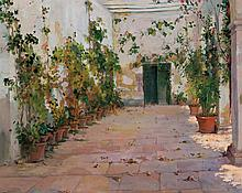 FRANCISCO VILLAR, Spanish (19th/20th Century), Courtyard in Summer, oil on canvas, signed lower left., 30 x 38