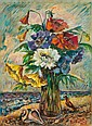 DAVID BURLIUK, Russian/American (1882-1967), Flowers on a Beach, oil on canvas board, signed lower right., 16 x 12