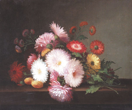 LACROIX, PAUL American (d. 1869) Chrysanthemums on a Table, oil on canvas, 10 x 12, signed lower left and dated '67.  15000/20000