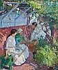 MARY BRADISH TITCOMB, American (1858-1927), Under the Arbor, oil on canvas, unsigned., 30 1/2 x 25