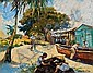 GEORGE HAUSDORF, American (1888-1959), Dominican Boatyard, oil on canvas, signed lower right, 16 x 20