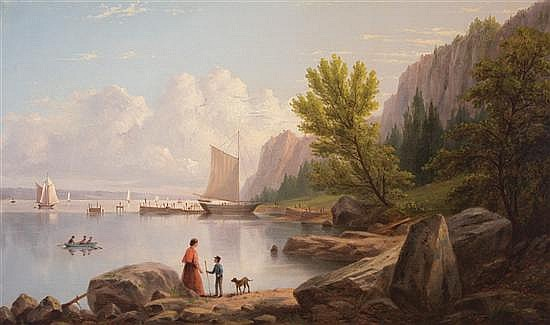 WILLIAM RICARBY MILLER American (1818-1893) The Palisades Near Piermont oil on canvas, signed lower right and dated 1872.
