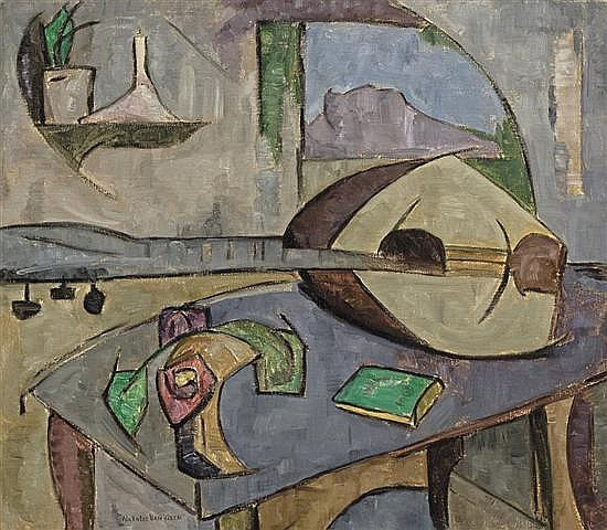 NATALIE VAN VLECK, American (1901-1981), Mandolin on a Table, oil on canvas, signed lower left., 20 x 23 1/2