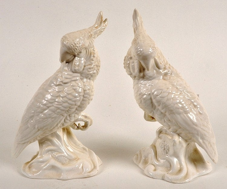 Pair of Crown Staffordshire white glazed bone
