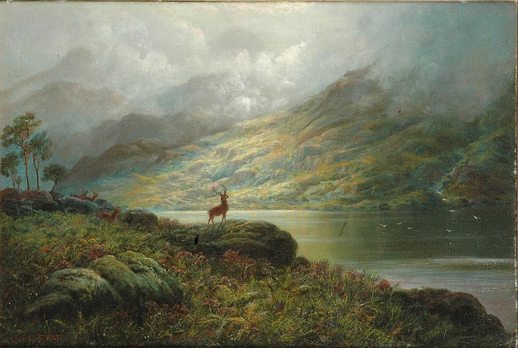 Charles Stuart FSA (fl 1880-1904) Stag and hinds