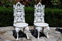 Pair of Victorian Painted Cast Iron Garden Chairs