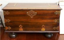 Stinkwood Brass Banded Swazl Carved Wood Blanket Chest
