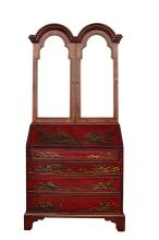 Queen Anne Style Chinoiserie Secretaire Bookcase