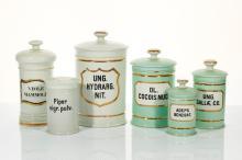 Six Porcelain Apothecary Jars