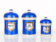 Three Victorian Blue and White Ceramic Apothecary Jars