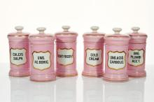 Six Pink and White Porcelain Apothecary Jars