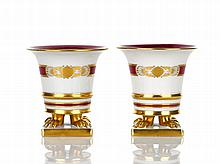 Herend Pair of Small Posy Vases on four gilded paw