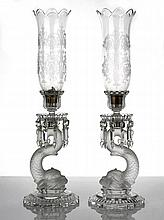 Baccarat Pair of Etched and Cut Crystal Hurricane