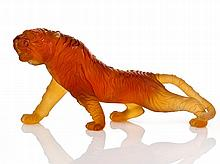 Daum Nancy Amber Glass Tiger, c. 1980 etched to
