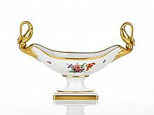 Meissen Centre Piece with Swan Handles heavily