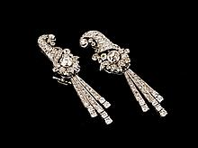 Art Deco Diamond Earrings 18ct white gold diamond