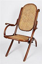 Pair of Folding Bentwood and Cane Chairs