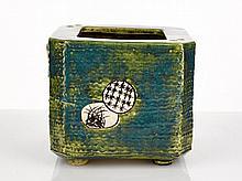 Oribe Hibachi, Japanese pottery hand warmer, c. 1970