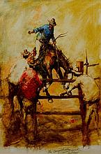 Hugh Sawrey (1919-1999) The Augathella Outlaw oil