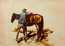 Hugh Sawrey (1919-1999) Packing the Horse oil on