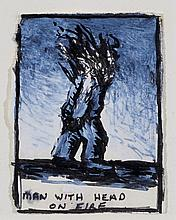 Peter Booth (b. 1940) - Man with Head on Fire, 1980
