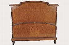 LARGE NAPOLEON III PERIOD KINGWOOD AND PARQUETRY BED WITH CANOPY