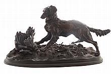 Twentieth-century bronze study of hunting dog with pheasant