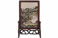 Chinese Qing period famille vert table screen