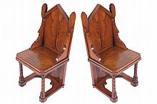 Pair of nineteenth-century walnut Gothic Revival hall chairs