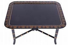 Pair lacquered and parcel gilt low tables