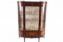 Edwardian period mahogany, satinwood and marquetry display cabinet
