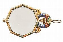 Enamel and gold framed magnifying glass