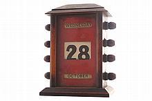 Nineteenth-century mahogany framed desk calendar