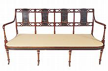 Nineteenth-century mahogany parcel gilt and lacquered window seat