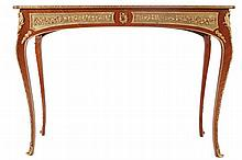 Louis XV style ormolu mounted kingwood and marquetry console table