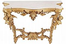 Eighteenth-century period Italian carved gilt-wood console table