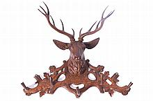 Nineteenth-century Black Forest deer mounted coat stand