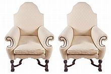 Pair of Edwardian period William & Mary style walnut upholstered armchairs