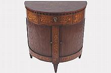 PAIR OF NINETEENTH-CENTURY DUTCH MARQUETRY DEMI-LUNE SHAPED CABINETS