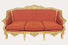 LOUIS XV STYLE CARVED GILT WOOD SALON SUITE