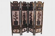 NINETEENTH-CENTURY CHINESE LACQUERED FOUR-FOLD SCREEN