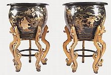 PAIR OF LARGE CHINESE LACQUERED PAPIER MÂCHÉ URNS