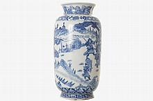 CHINESE QING PERIOD BLUE AND WHITE LANTERN SHAPED VASE